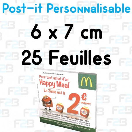 Post-it Personnalisé 6x7 cm 25 feuilles Marque Fabrik2blocs