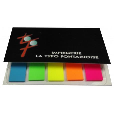 Marque-pages plastiques adhesifs personnalises